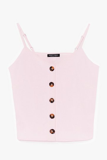 Pink Nothing Button-Down Love Crop Top