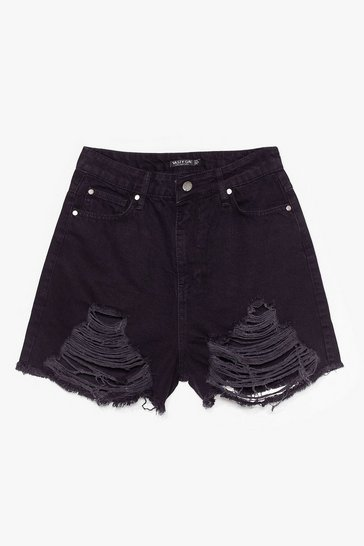 Black Rip 'Em to Shreds Distressed Denim Shorts
