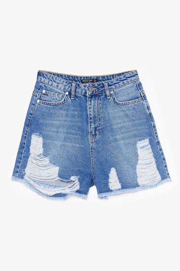 Blue Rip 'Em to Shreds Distressed Denim Shorts