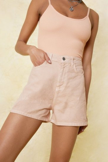 Apricot Relaxed High Waisted Denim Shorts