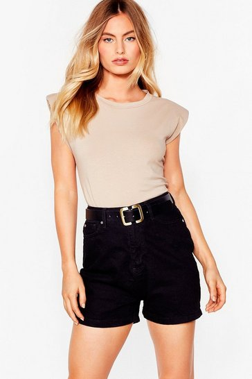 Out of Office High-Waisted Denim Shorts, Black