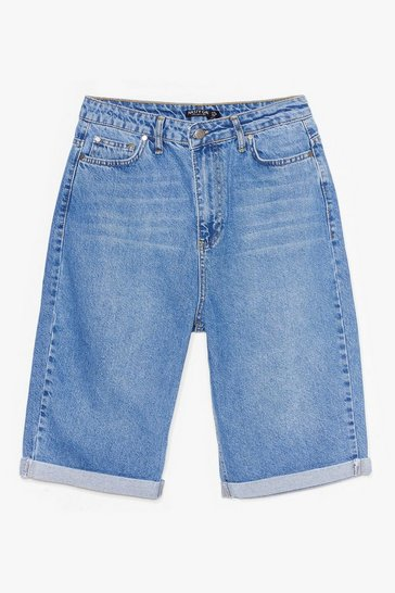 Blue Rolling With It Longline Relaxed Denim Shorts