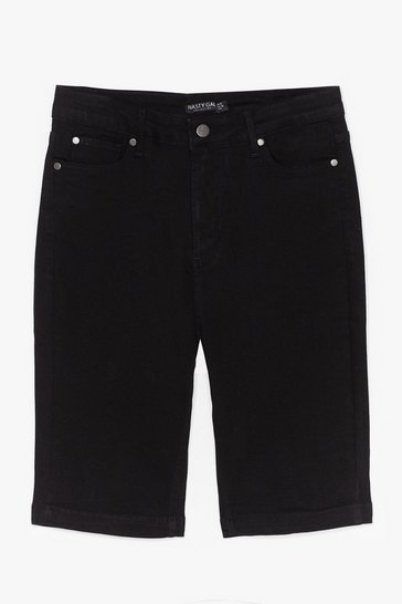 Black It Won't Be Long Denim Biker Shorts