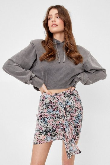 Pink Bud for You Floral Midi Skirt
