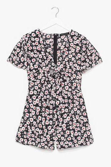 Black Would We Tie to You Floral Romper