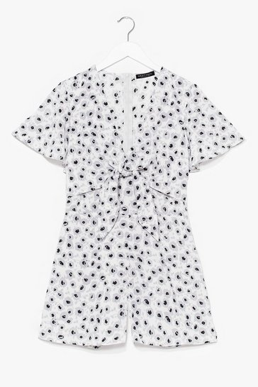 White Would We Tie to You Floral Playsuit