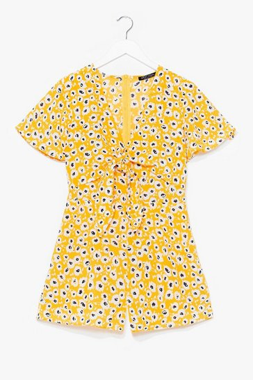 Yellow Would We Tie to You Floral Playsuit