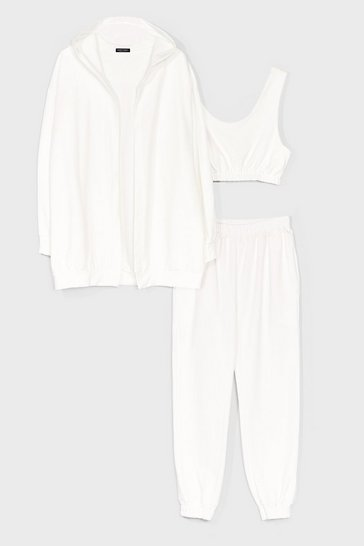 White Longline Hoodie and Sweatpants 3-Pc Set