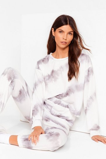 White Time to Relax Tie Dye Joggers Lounge Set
