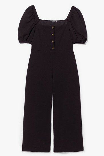 Black Puff and Ready Button-Down Culotte Jumpsuit