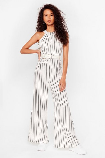 White Stripe of Magic Wide-Leg Racer Jumpsuit