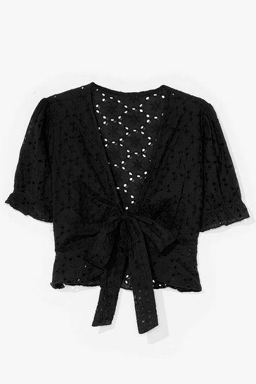 Black Something Tie Can Dance to Broderie Crop Top