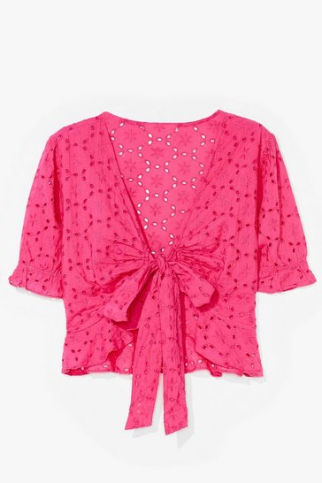 Pink Something Tie Can Dance to Broderie Crop Top