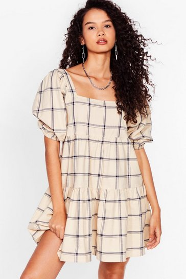 Cream Check Puff Sleeve Smock Dress