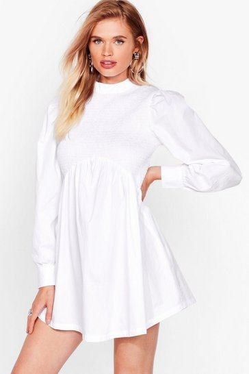 White Shirred It From Us Relaxed Mini Dress