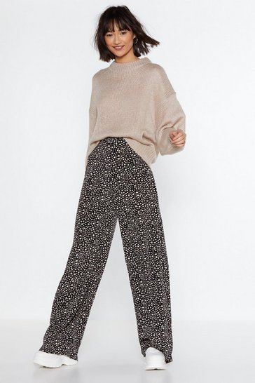 Black Abstract Polka Dot Wide-Leg Trousers