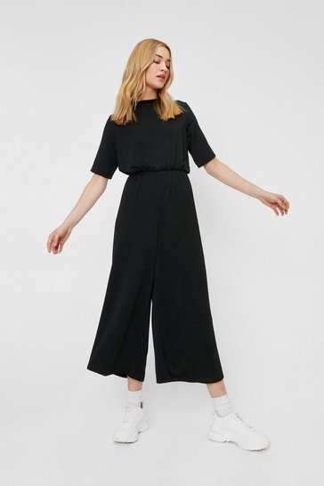 Black Casual Keyhole Back Culotte Jumpsuit