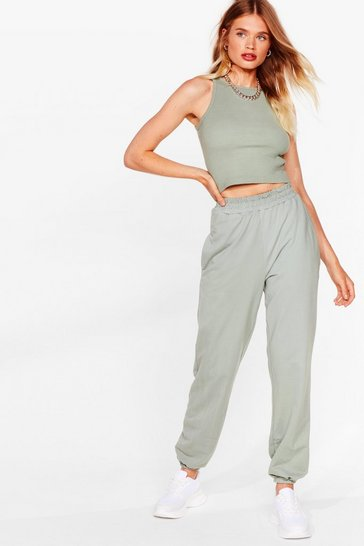 Sage Just Relax Racerback Crop Top and Jogger Set