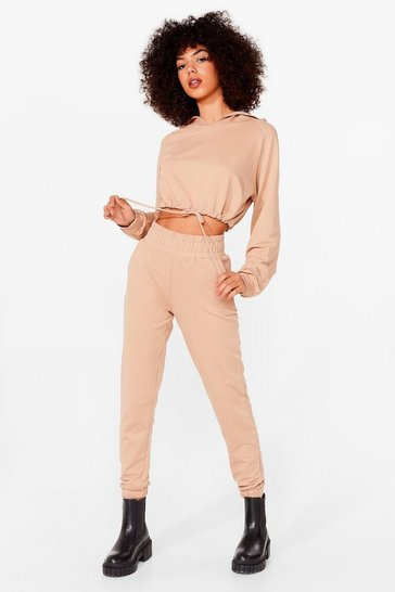 Camel Easy Going Cropped Hoodie and Joggers Set