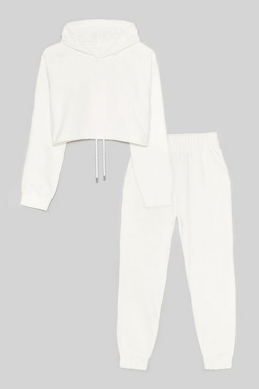 Ecru Easy Going Cropped Hoodie and Joggers Set