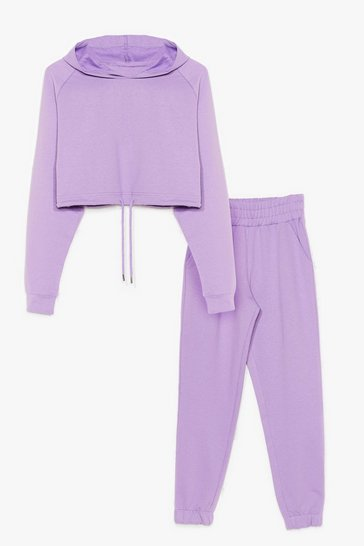 Purple Easy Going Cropped Hoodie and Joggers Set
