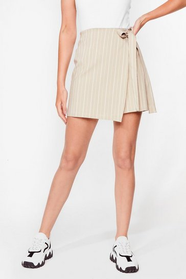 Beige Fall for Your Stripe Wrap Mini Skirt