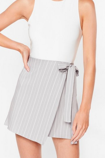 Grey Fall for Your Stripe Wrap Mini Skirt