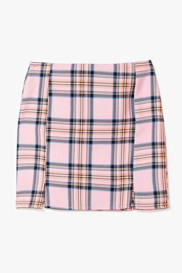 Pink Not a Clue Check Mini Skirt