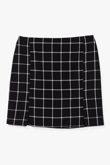Black Square Your Thoughts Check Mini Skirt