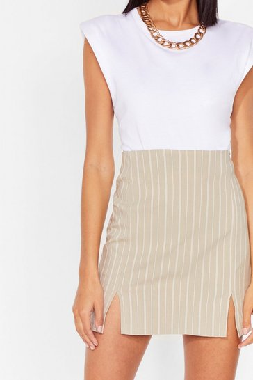Beige That's My Stripe Slit Mini Skirt