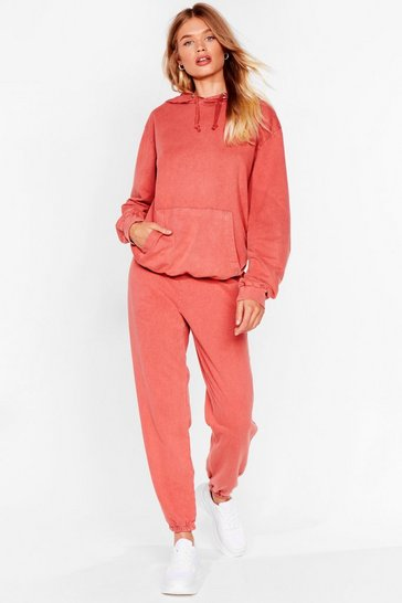 Ensemble sweat à capuche & pantalon de jogging délavés, Terracotta