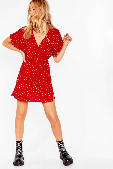 Red Call In Slick Heart Mini Dress