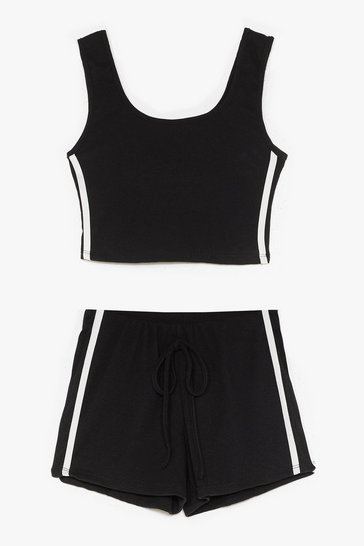 Black Side Stripe Crop and Hotpant Set