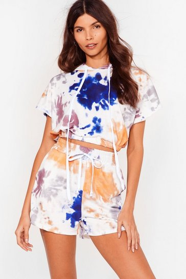 White Friday I'm in Love Tie Dye Hoodie and Shorts Set