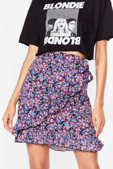 Purple Somewhere Only We Grow Floral Mini Skirt