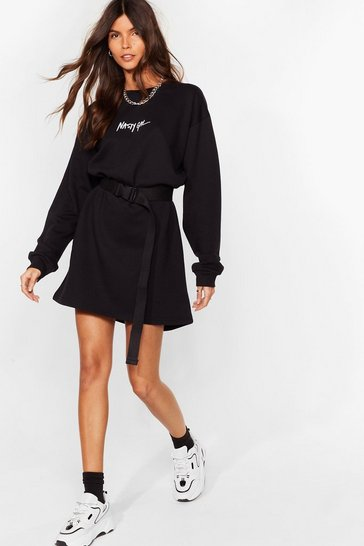 Black Nasty Gal Word on the Street Mini Sweatshirt Dress