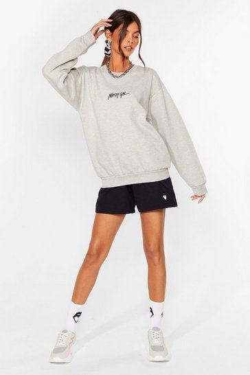 Grey Nasty Gal Word on the Street Relaxed Sweatshirt