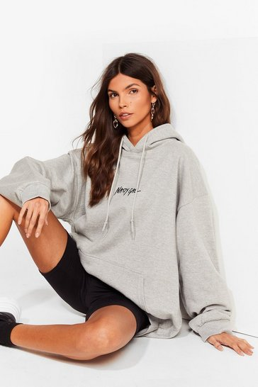Grey Nasty Gal Word on the Street Relaxed Hoodie