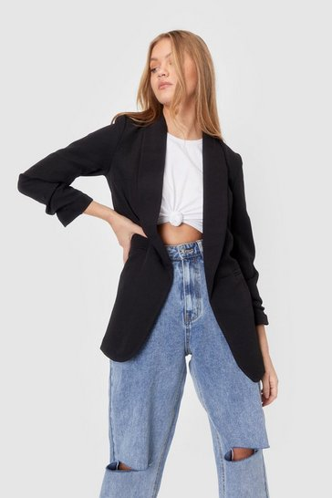Black Ruched Sleeve Longline Blazer