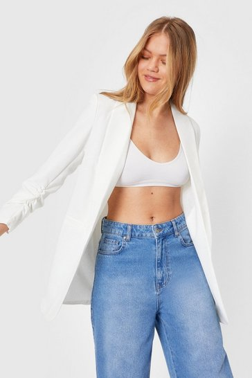 White Ruched Sleeve Longline Blazer