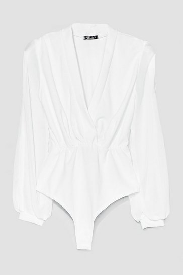 White Mind the Wrap Plunging High-Leg Bodysuit