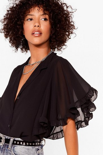 Black Totally Wingin' It Angel Sleeve Blouse