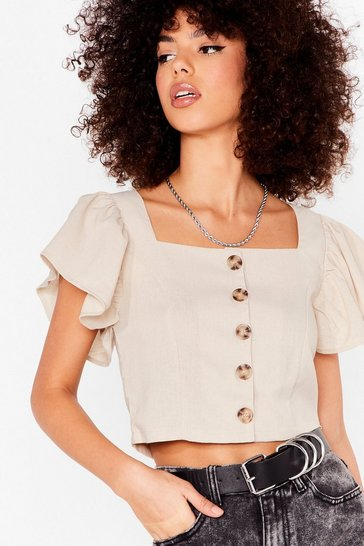 Beige Such an Angel Sleeve Cropped Button-Down Blouse