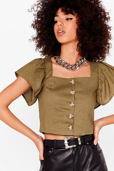 Khaki Such an Angel Sleeve Cropped Button-Down Blouse
