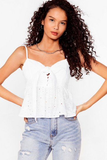 White Worth a Tie Broderie Cami Top