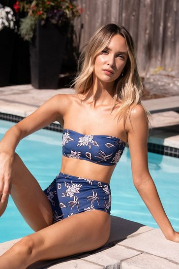 Navy Harleys in Hawaii Floral Bandeau Bikini Set