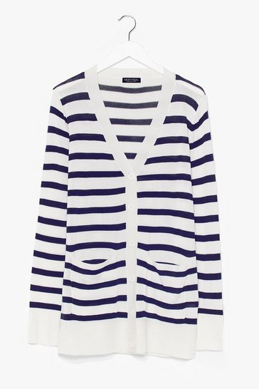 White Striped button cardigan