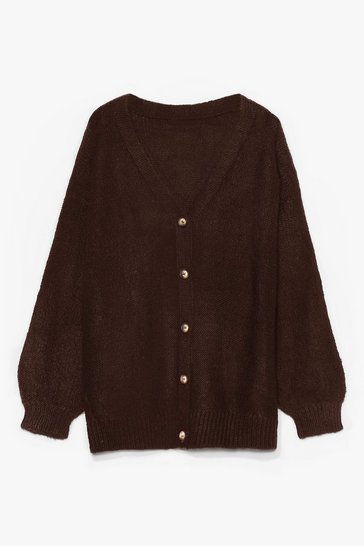 Brown Blowing Hot Air Balloon Sleeve Cardigan