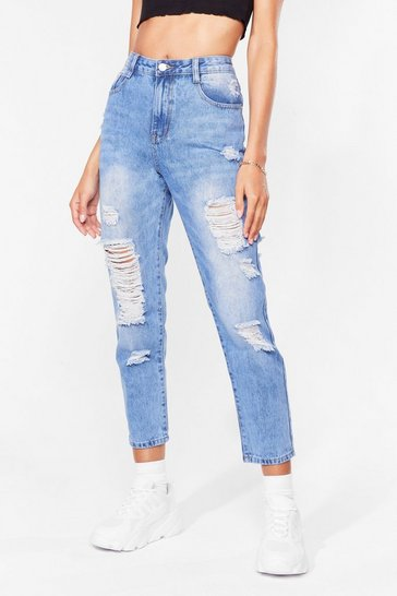 Blue Give It Raw Best Shot Distressed Jeans