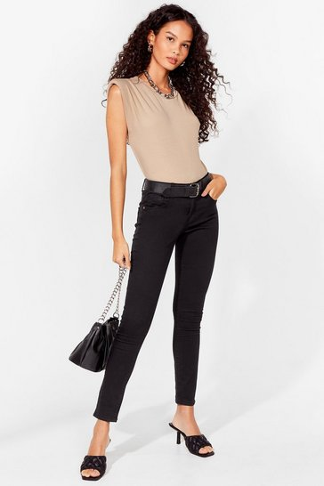 Black Button It Mid-Rise Skinny Jeans